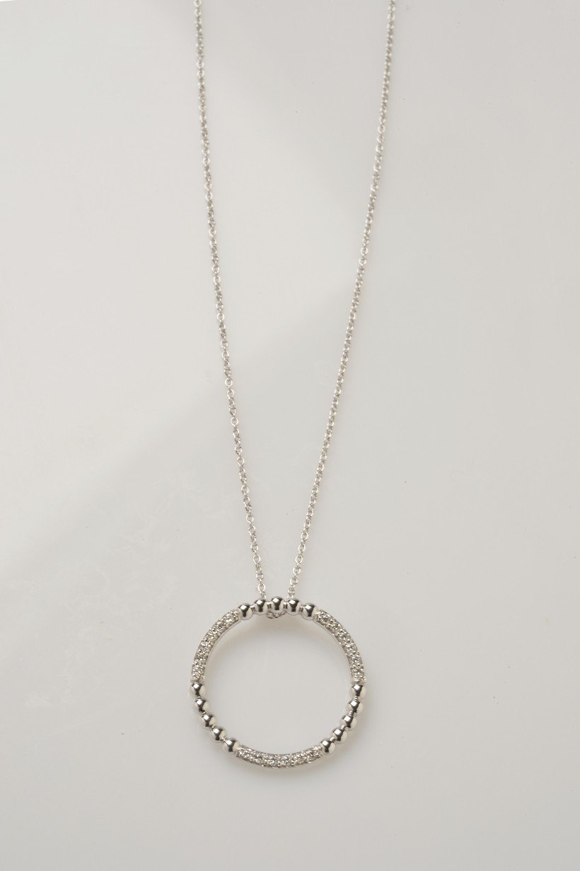 """""""Collier Clinton"""" Or blanc 18cts"""